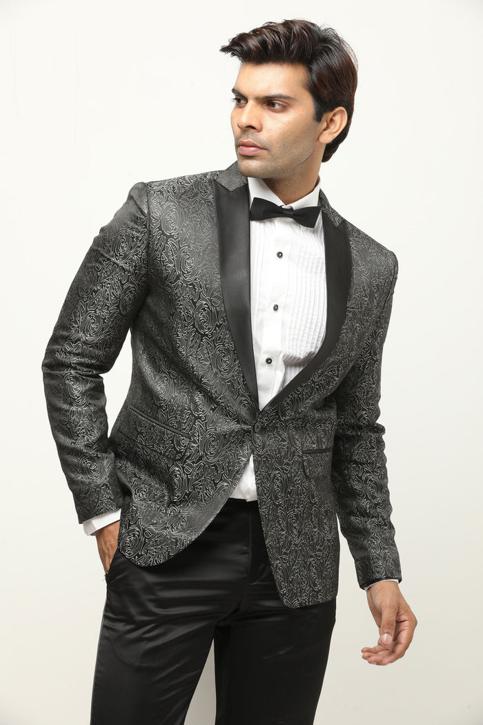 Jacquard Blazer - Black Art