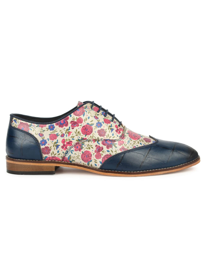 Blue Printed Oxford - Floral