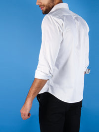 black tie shirt model image rolled cuffs