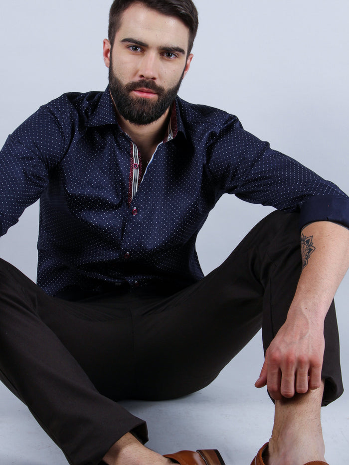 suave evening shirt model sitting image