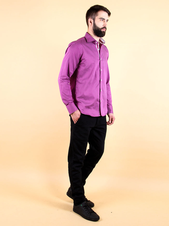 plum wine shirt model walking image