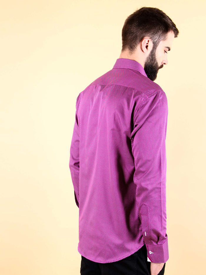 plum wine shirt model back image