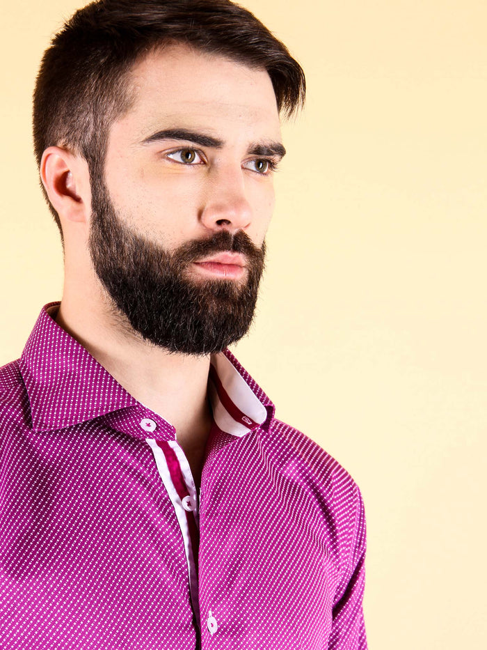plum wine shirt model collar image