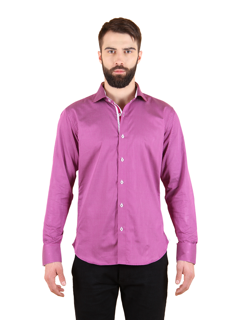 plum wine shirt fit front image