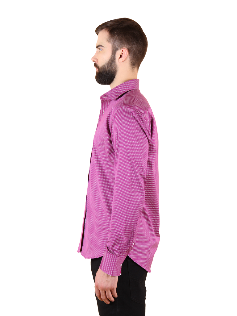 plum wine shirt fit left side image