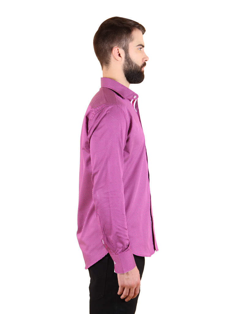 plum wine shirt fit right side image
