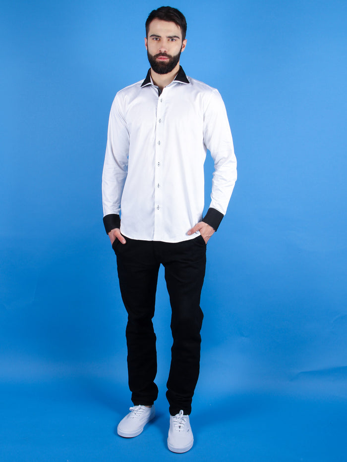 nouveau tux shirt model walking image