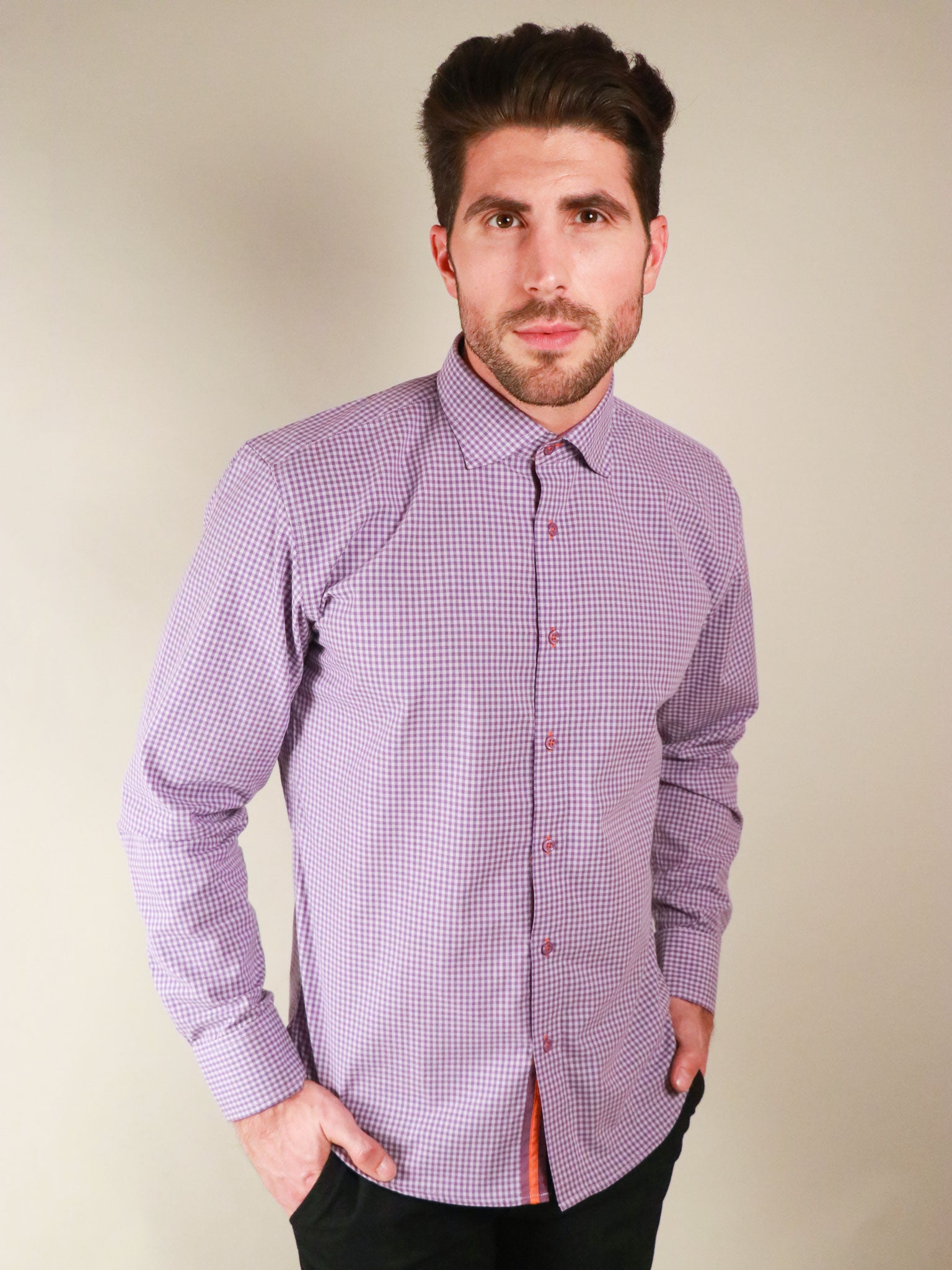french lavender shirt model image