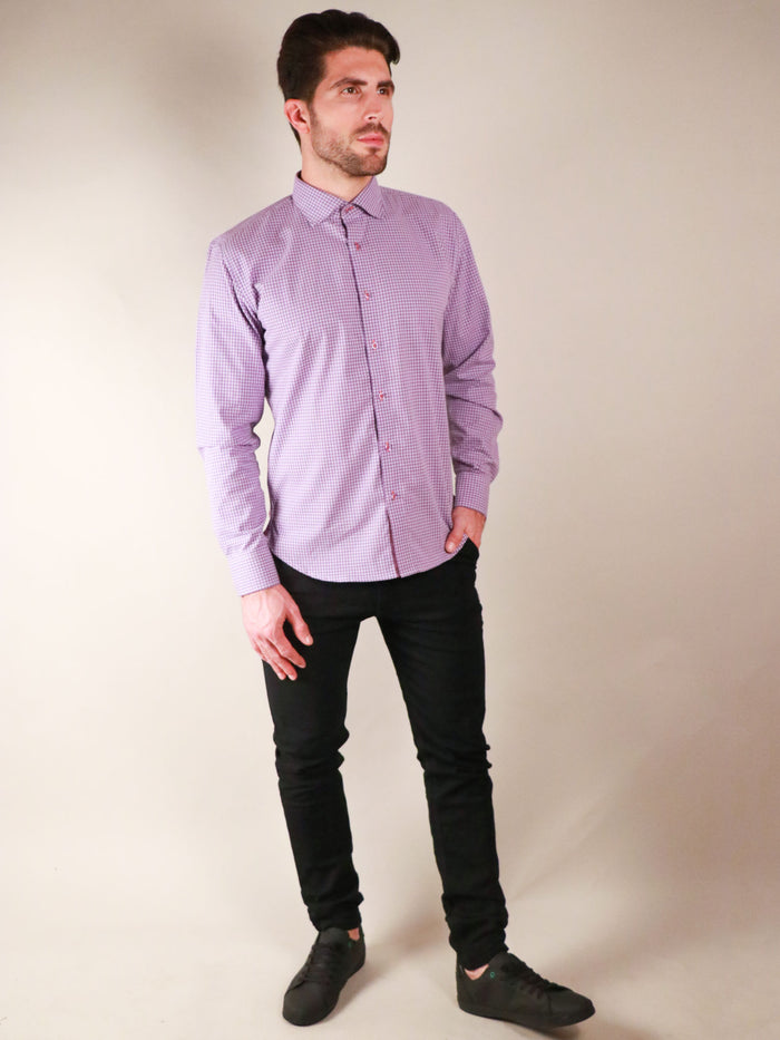french lavender shirt model full body image