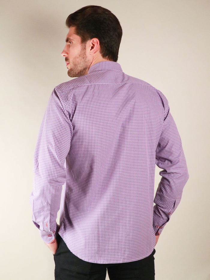 french lavender shirt model image from back