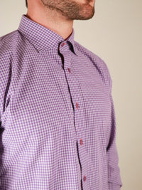 french lavender shirt model image collar close up