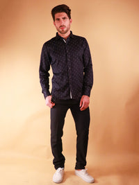 dark crossway shirt model full body image