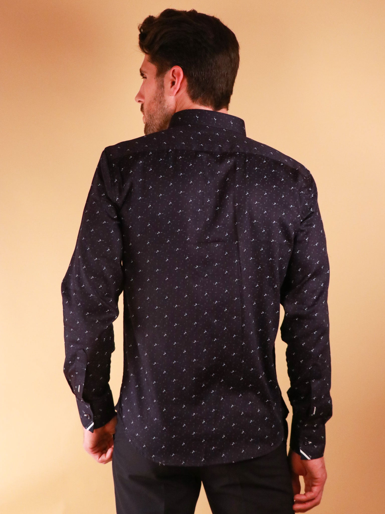 dark crossway shirt model image from back