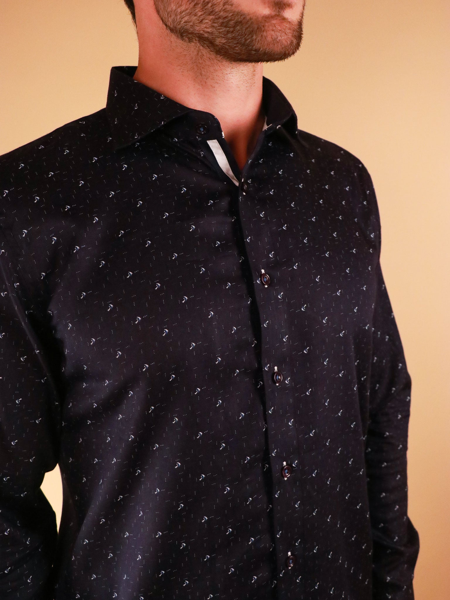dark crossway shirt model image collar close up