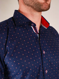 shining star shirt model image collar close up