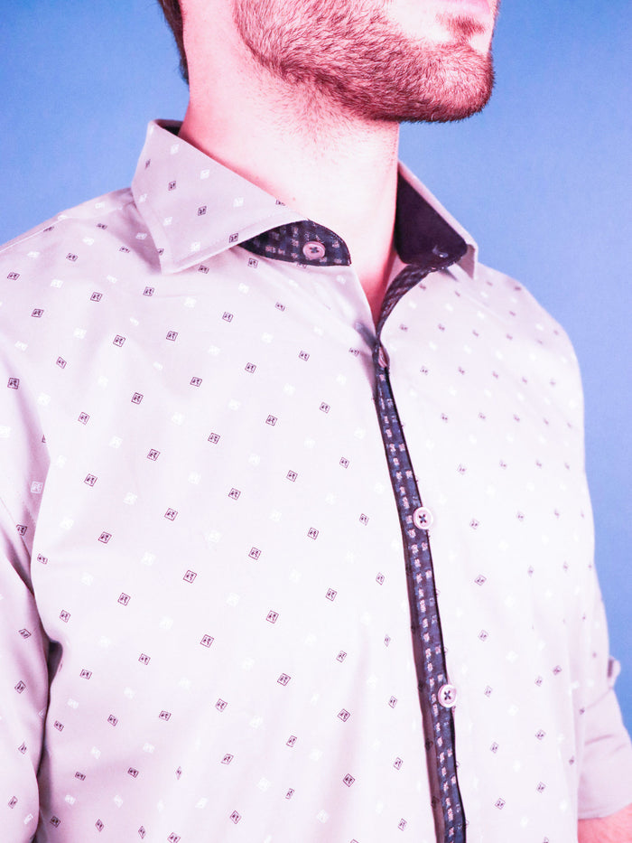 slate gem shirt model image collar close up