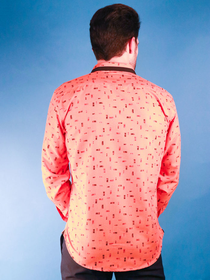 new orange shirt model image from back