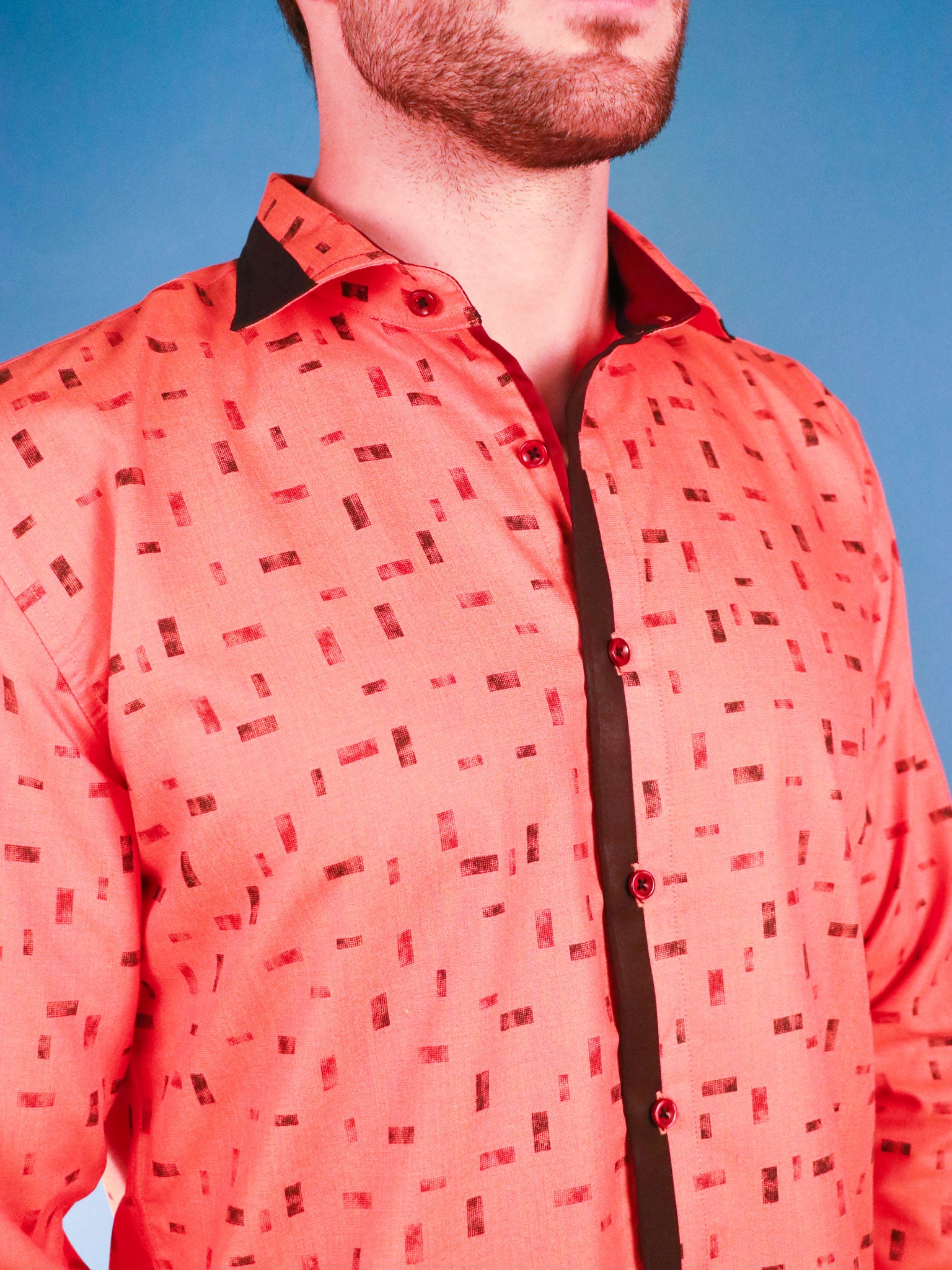 new orange shirt model image collar close up
