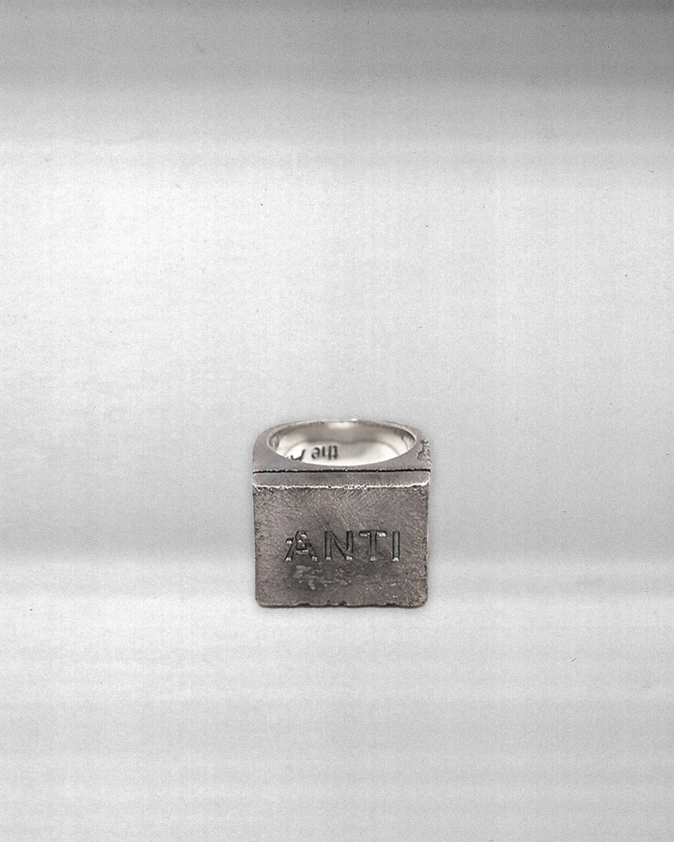 ANTI-LOGO RING - BLACK OXIDISED STERLING SILVER