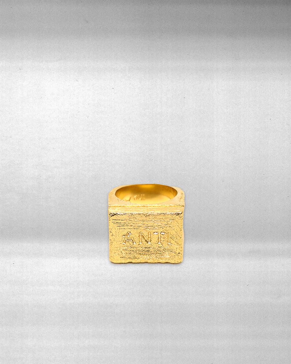 ANTI-LOGO RING - GOLD MICRO PLATED STERLING SILVER