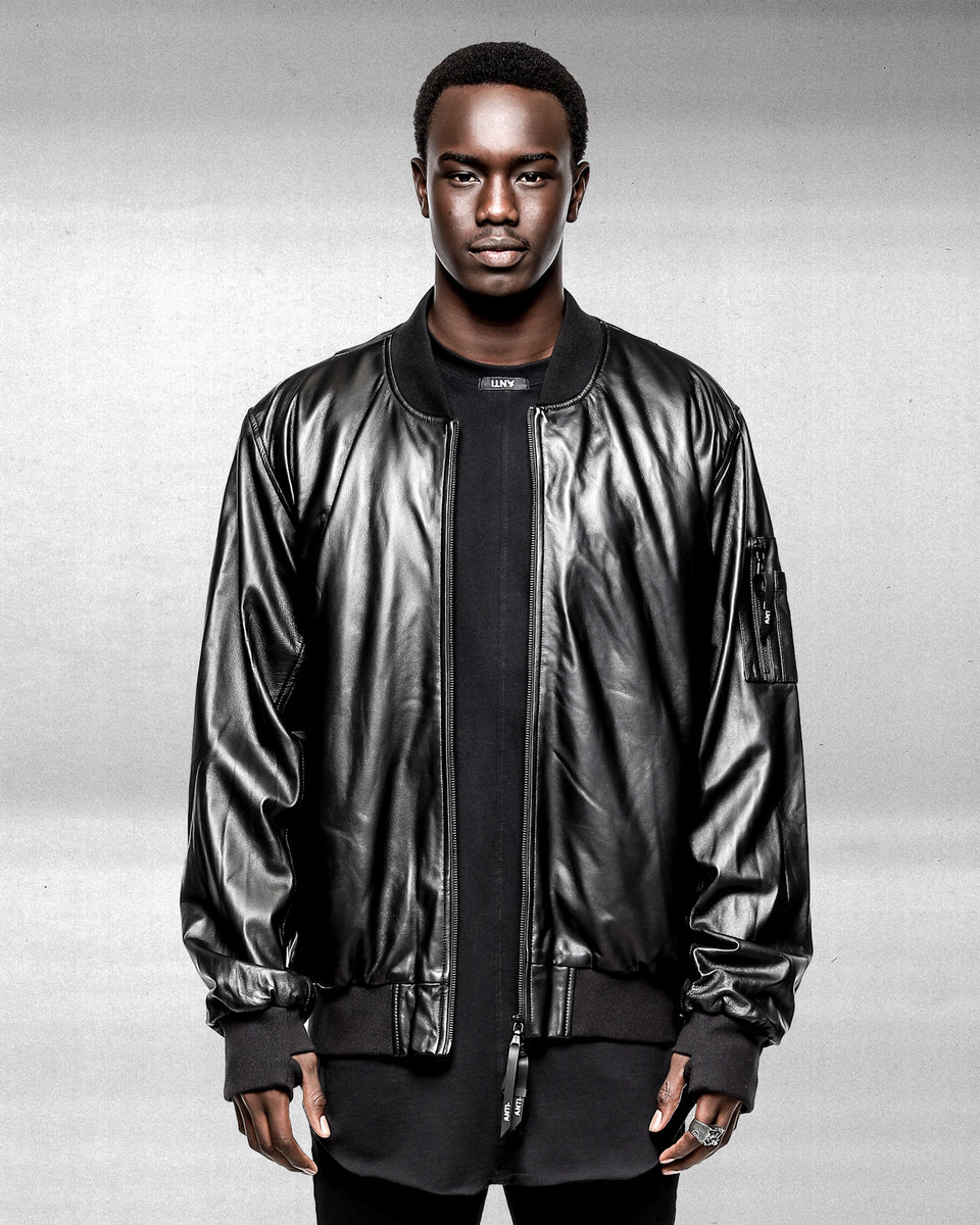 Comme Des Anti Leather Bomber - Black
