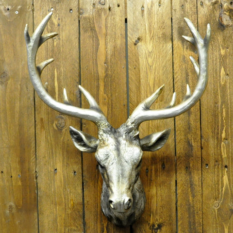 Silver Metal Deer Head