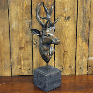 Antique Brown Deer on Stand