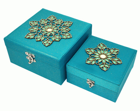 Set of 2 Aqua Jewelled Storage Boxes