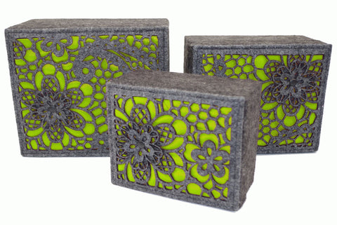 Lime Luxury Storage Boxes Set of 3