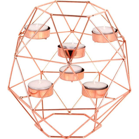 Large Copper Geometric Candle Holder