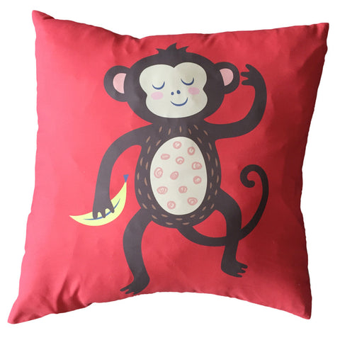 Funky Monkey Cushion Red