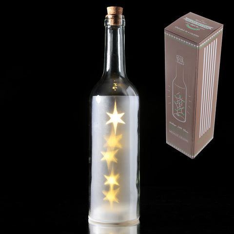 White Stars Led Light Bottle