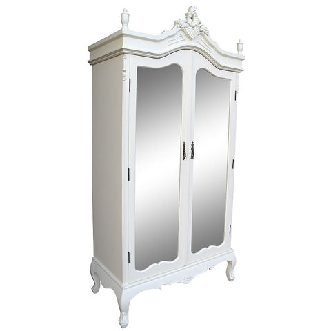 Mirrored French Armoire, Cream Luxury.