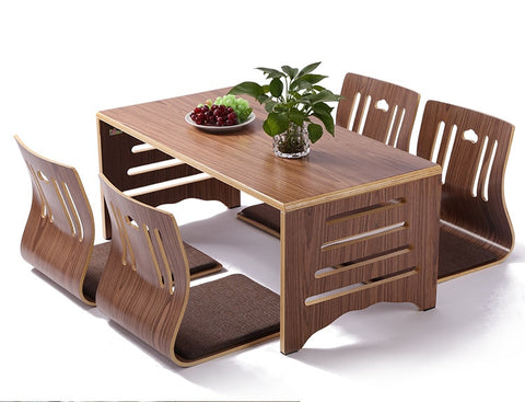 Modern Japanese Style Dining Table and Chairs 5pcs/set