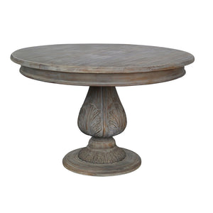 Reclaimed Wood Round Pedestal Acorn Dining Table