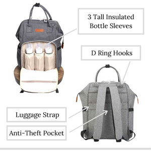 The City Diaper Bag Backpack with Luggage Attachment - Eloise & Lolo