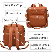Load image into Gallery viewer, The Sawyer Diaper Bag Backpack - Vegan Leather - Eloise & Lolo