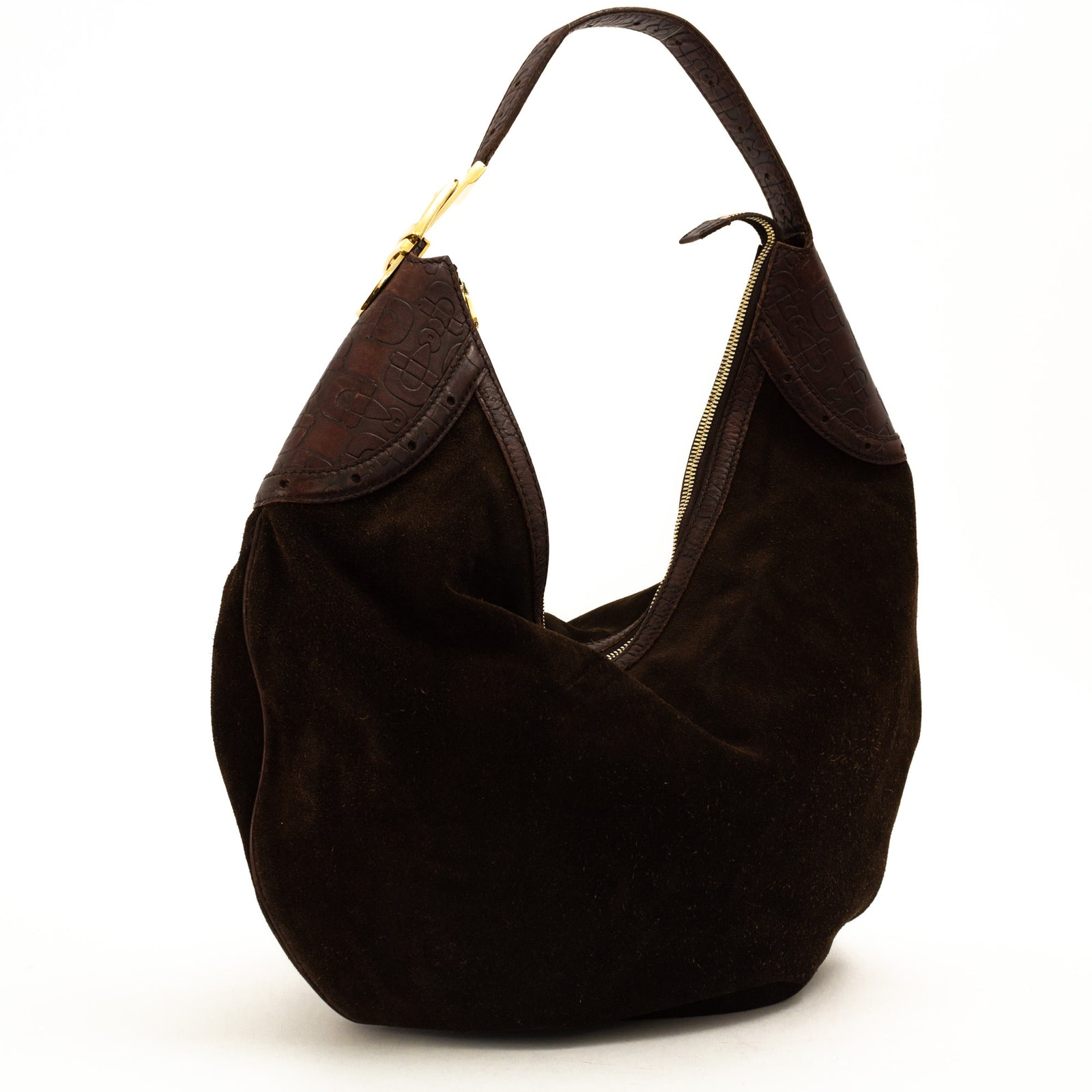 Suede Horsebit Glam Hobo Bag