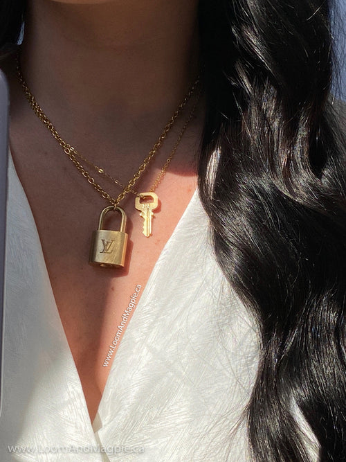 Repurposed Louis Vuitton Padlock Chain Necklace