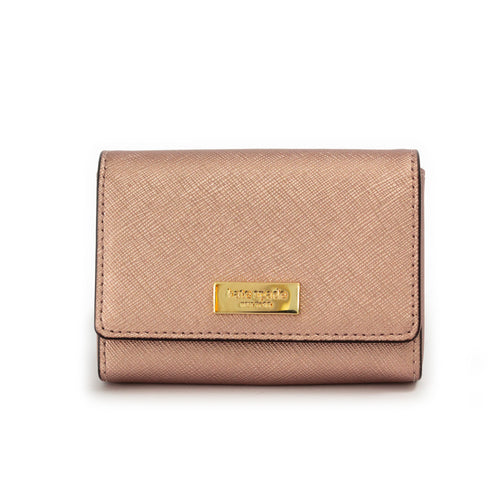 Small Rose Gold Saffiano Card Holder