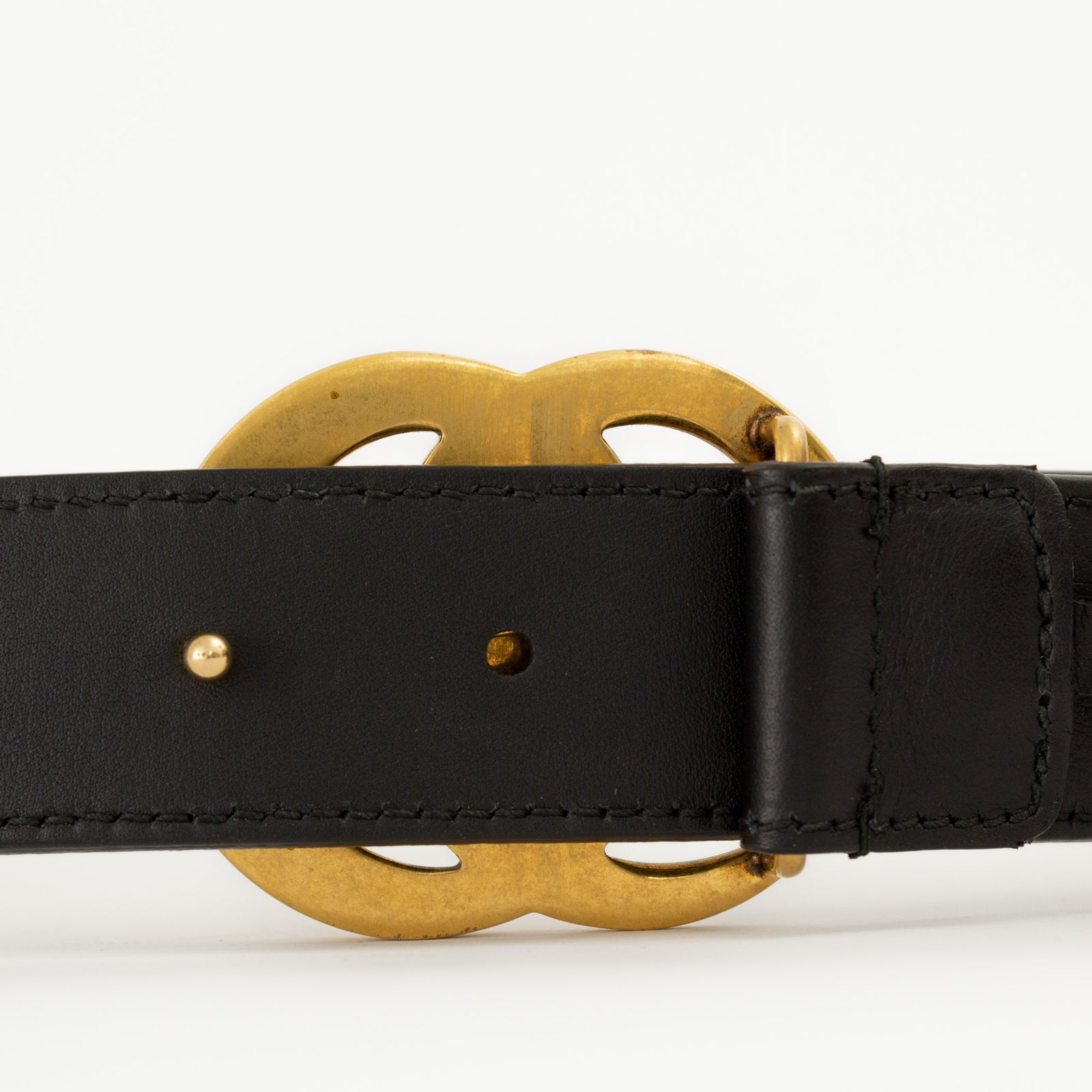 Leather Belt with Double G Buckle