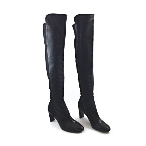 Black Lamb Skin Tall Boots