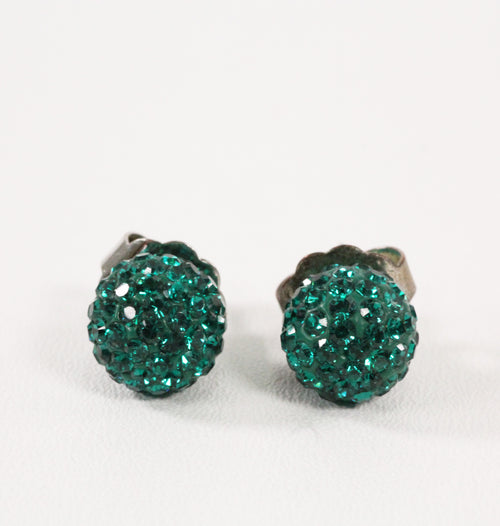 Green Sparkle Ball Earrings