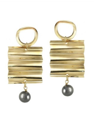 Gold Studs with Grey Pearl