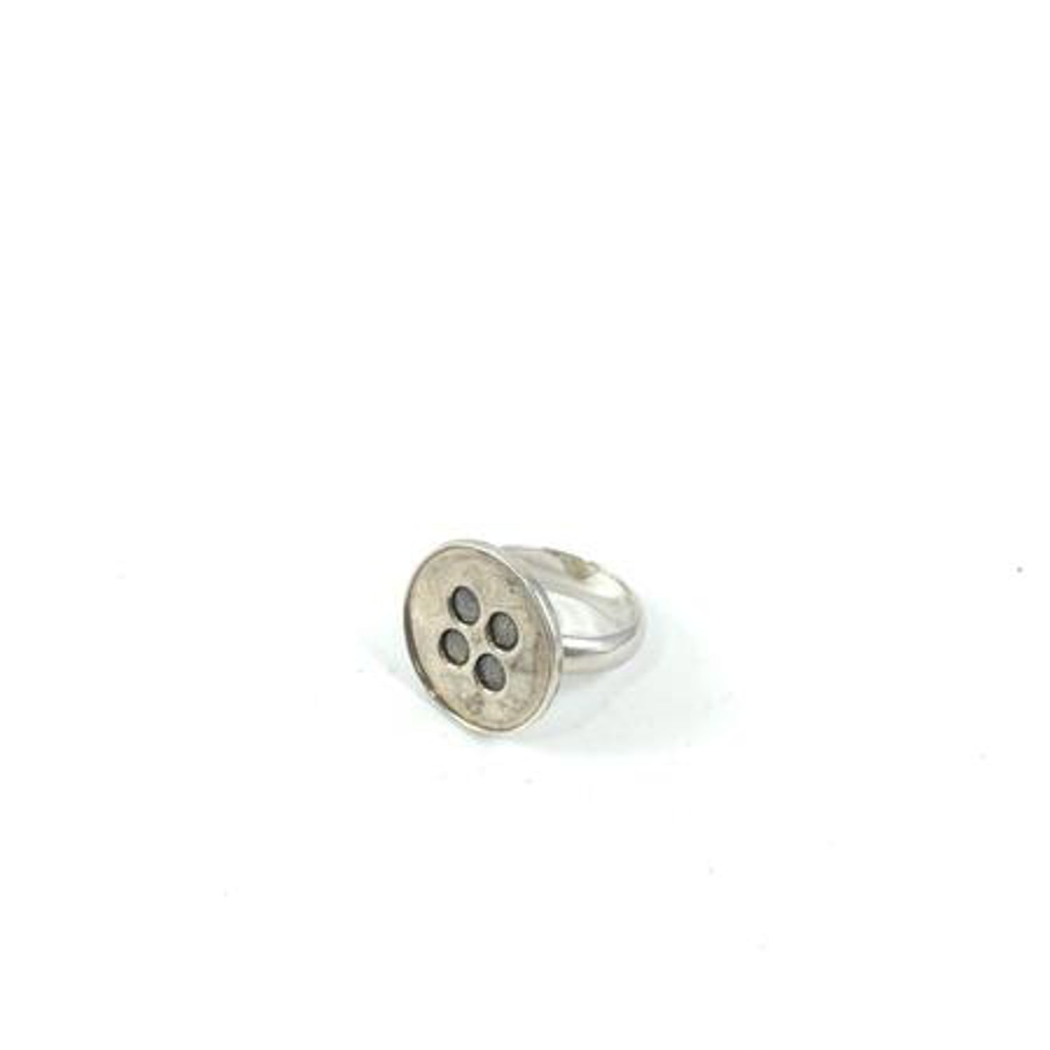 Silver Button Ring