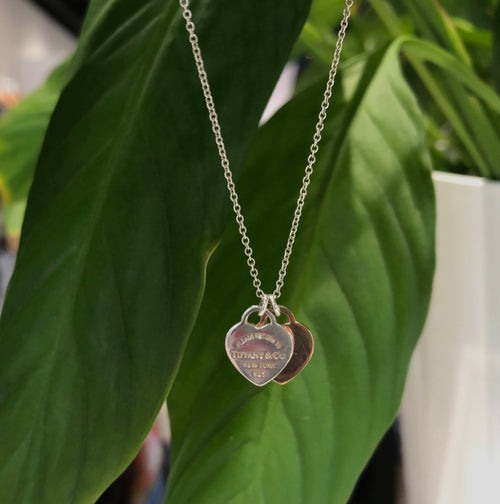 Double Heart Tag Pendant with Rubedo Metal
