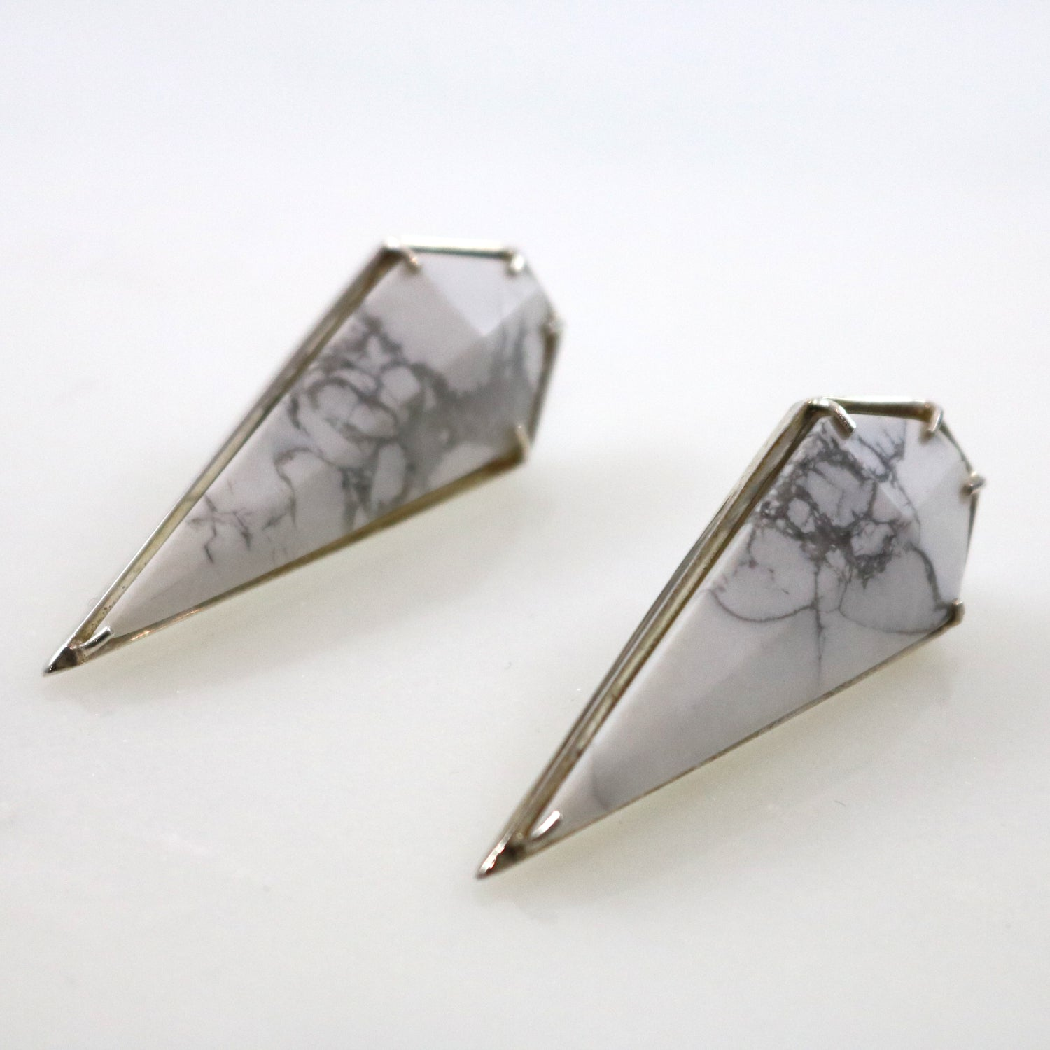Marble Stone Triangle Stud Earrings