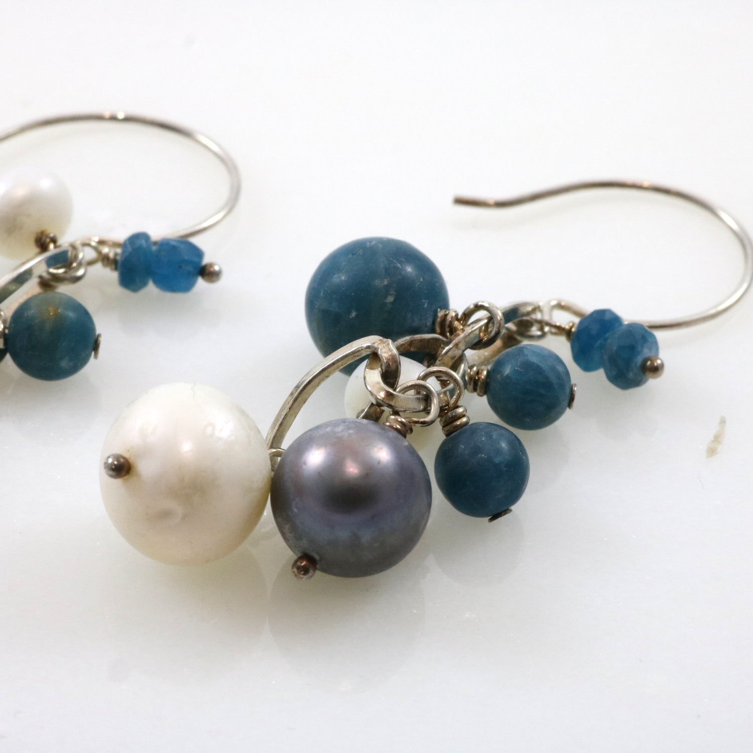 Cool-Tone Bead Drop Earrings