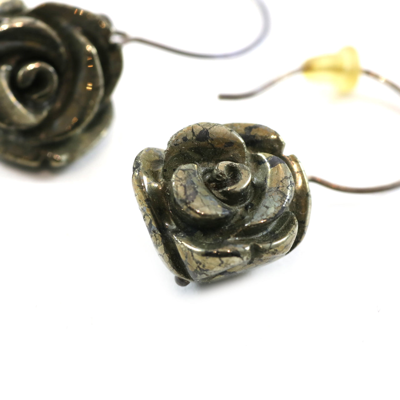 Crackled Rose Drop Earrings