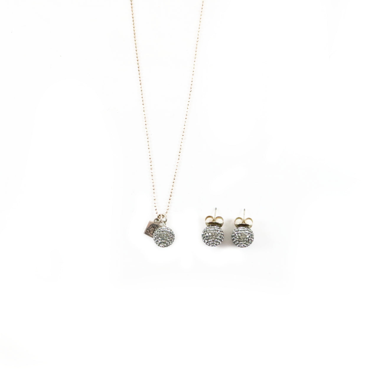 12mm Grey Sparkle Set Earrings & Necklace